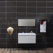 Bathroom showing accessories & basin sink - Bathroom bathroom, bathroom accessory, cabinetry, floor, flooring, furniture, hardwood, interior design, product design, sink, tap, tile, wall, wood, wood flooring, black