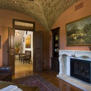 View of the fireplace within the study also ceiling, estate, hacienda, hearth, home, house, interior design, living room, property, real estate, room, brown