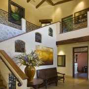 Interior view of the stairway features unique hand ceiling, estate, home, interior design, living room, lobby, real estate, room, wall, brown