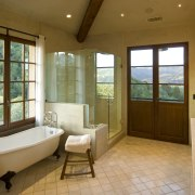 View of the bathroom with tiled floors & bathroom, ceiling, estate, floor, flooring, home, interior design, real estate, room, window, brown