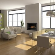 View of a living area which features a floor, flooring, hardwood, hearth, interior design, interior designer, laminate flooring, living room, room, wood flooring, brown, white