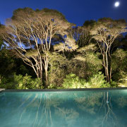 View of sleek poolscape with textured stone wall, arecales, estate, landscape, landscape lighting, lighting, nature, palm tree, plant, property, real estate, reflection, resort, sky, swimming pool, tree, tropics, water, water feature, brown, teal