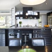 View of kitchen designed by Celia Visser of countertop, interior design, kitchen, white, black