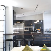 View of kitchen designed by Celia Visser of architecture, ceiling, house, interior design, kitchen, living room, white