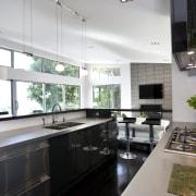 View of kitchen designed by Celia Visser of countertop, interior design, kitchen, real estate, gray, black