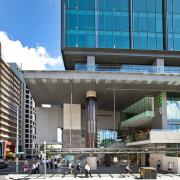 400 George St, Brisbane - 400 George St, architecture, building, city, commercial building, condominium, corporate headquarters, daytime, facade, headquarters, metropolis, metropolitan area, mixed use, residential area, sky, urban area, teal