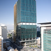 34-story building, 400 George St, Brisbane - 34-story architecture, building, city, cityscape, commercial building, condominium, corporate headquarters, daytime, downtown, facade, headquarters, hotel, metropolis, metropolitan area, mixed use, real estate, residential area, sky, skyscraper, tower block, urban area, urban design, teal