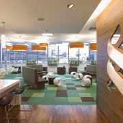Standard Chartered Bank, Changi Business Park, Singapore ceiling, interior design, lobby, brown