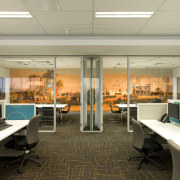 Standard Chartered Bank, Changi Business Park, Singapore interior design, office, orange, brown