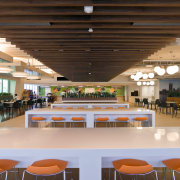 Standard Chartered Bank, Changi Business Park, Singapore cafeteria, function hall, furniture, institution, interior design, leisure, leisure centre, table, brown, orange