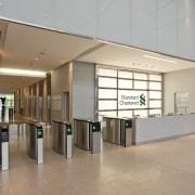 Standard Chartered Bank, Changi Business Park, Singapore daylighting, floor, flooring, interior design, lobby, gray