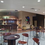 Lion's new HQ in South Auckland - Lion's café, cafeteria, interior design, lobby, real estate, restaurant, room, table, gray