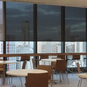 Interior view of 34-Story building with blinds from classroom, daylighting, furniture, institution, interior design, office, table, window, black, brown