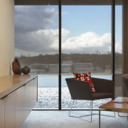 View of the office blinds by KWA Blinds architecture, chair, daylighting, door, floor, furniture, glass, house, interior design, living room, table, window, gray