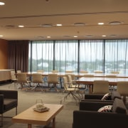 View of the office blinds by KWA Blinds ceiling, conference hall, function hall, interior design, restaurant, brown