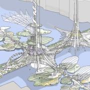 London Bridge Conceptual - London Bridge Conceptual - design, line, sailing ship, tree, urban design, watercraft, teal, white