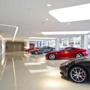 Ferrari Showroom - Ferrari Showroom - automotive design automotive design, building, car, car dealership, luxury vehicle, motor vehicle, personal luxury car, sports car, vehicle, white, gray
