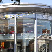 Entrance of the ferrari showroom - Entrance of architecture, building, facade, black, gray