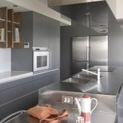 Interior view of modern kitchen - Interior view architecture, countertop, home appliance, interior design, interior designer, kitchen, product design, gray