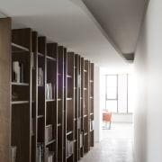 Interior view of hallway - Interior view of apartment, architecture, ceiling, daylighting, floor, furniture, interior design, shelving, wall, gray