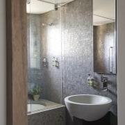 Interior view of bathroom - Interior view of bathroom, bathroom accessory, bathroom cabinet, floor, home, interior design, plumbing fixture, room, sink, tile, gray