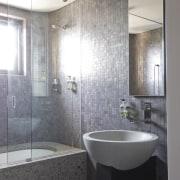 View of bathroom - View of bathroom - architecture, bathroom, bathroom accessory, ceiling, floor, interior design, plumbing fixture, room, sink, tile, wall, gray
