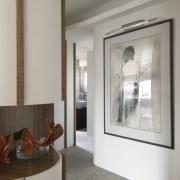 View of hallway with artwork - View of door, floor, home, interior design, real estate, room, window, gray