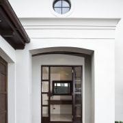 Exterior view of Eden Homes show home which door, interior design, white