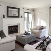 View of the lounge area which features sofas, home, interior design, living room, property, real estate, room, window, gray