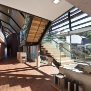View of the stairway area - View of architecture, daylighting, lobby, real estate, roof, structure, brown
