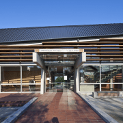 View of the entrance way - View of architecture, building, commercial building, corporate headquarters, daylighting, facade, house, real estate, residential area, roof, black