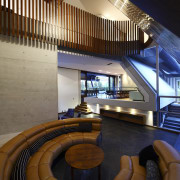 Interior view of this contemporary home designed by architecture, ceiling, daylighting, estate, interior design, lobby, stairs, brown
