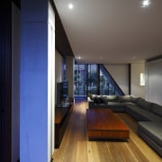 Interior view of this contemporary home designed by architecture, ceiling, daylighting, floor, flooring, hardwood, house, interior design, laminate flooring, lighting, wood, wood flooring