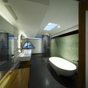 View of the bathroom in this contemporary home architecture, bathroom, ceiling, daylighting, house, interior design, room, black