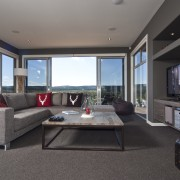 View of the contemporary lounge - View of house, interior design, living room, property, real estate, room, window, gray, black