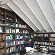 Interior view of a modern home by Jessop bookcase, bookselling, ceiling, institution, interior design, library, library science, public library, shelving, gray