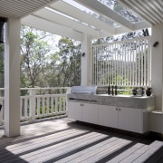 Patio of a typical Sydney beach house by architecture, daylighting, deck, outdoor structure, structure, gray