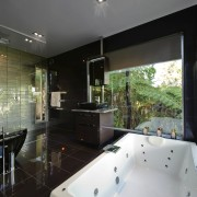 Interior view of a contemporary bathroom - Interior architecture, bathroom, estate, home, house, interior design, property, real estate, room, window, black, gray