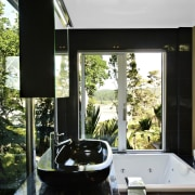Interior view of a contemporary bathroom - Interior architecture, home, house, interior design, property, window, black, white