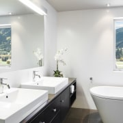 Interior view of a contemporary bathroom - Interior architecture, bathroom, bathroom accessory, home, interior design, room, sink, window, white