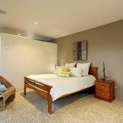 View of contemporary bedroom - View of contemporary bedroom, ceiling, floor, interior design, real estate, room, suite, orange, brown