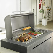 Barbecue that integrates with the contemporary design barbecue grill, home appliance, kitchen appliance, outdoor grill, white, gray