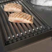 Close-up view of the grill - Close-up view barbecue grill, grilling, gray, black