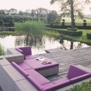 View of the outdoor patio - View of backyard, furniture, outdoor furniture, sunlounger, table, gray, white