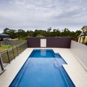 Exterior view of the pool area - Exterior backyard, estate, house, leisure, property, real estate, sky, swimming pool, water, gray
