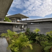 View of modern home designed by Design Unit architecture, estate, home, house, plant, property, real estate, roof, tree, brown