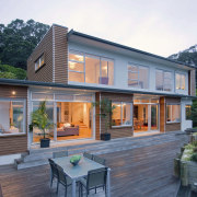 Exterior view of the decking area - Exterior architecture, cottage, elevation, facade, home, house, property, real estate, roof, siding