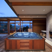 View of the spa by The Spa and architecture, estate, house, interior design, real estate, swimming pool, wood, red