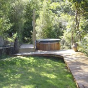 View of the traditional spa tub - View backyard, courtyard, estate, garden, grass, landscape, landscaping, lawn, outdoor structure, plant, property, real estate, tree, yard, green