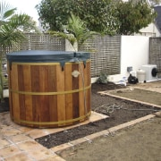 View of traditional spa tub - View of backyard, outdoor structure, property, real estate, yard, brown